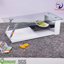 modern high-quality furnishings clear tempered glass with metal centre table
