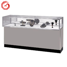 Polish stainless steel frame wooden jewelry store display furniture