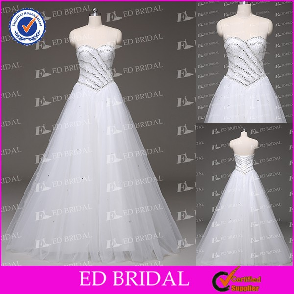 New Arrival A-line Sweetheart Neckline Beaded Top Patterns Low Back China Wholesale Wedding Dresses