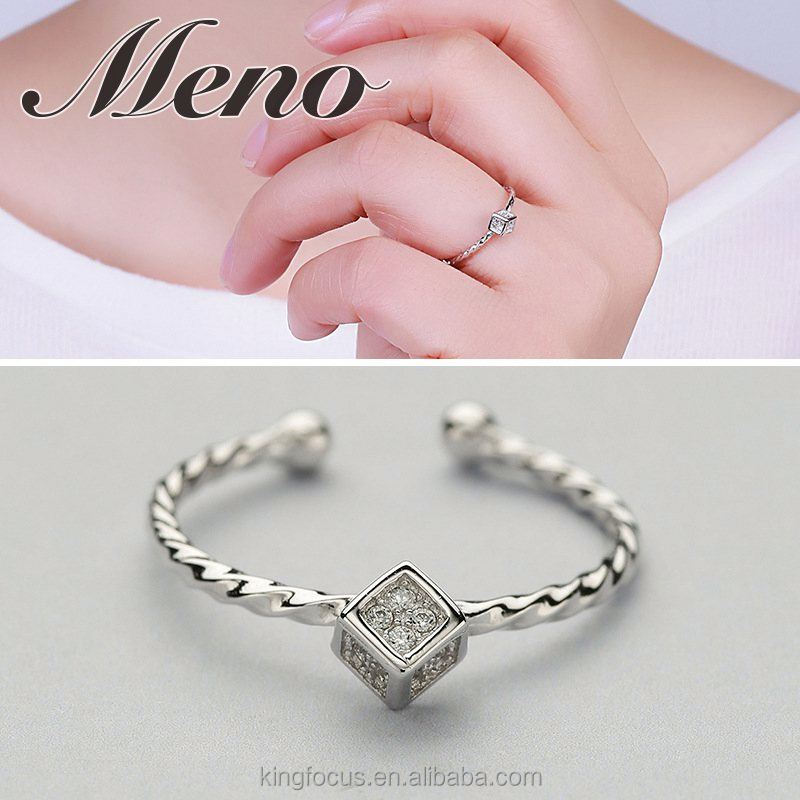Meno S925 silver square model twisted ring fashion lady modern stylish taste