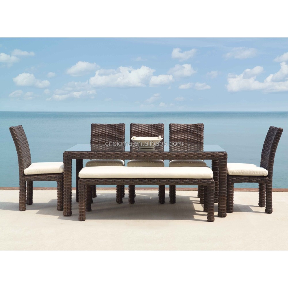 2017 Sigma good quality all weather classic rattan french style dining room sets