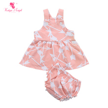 hot sale toddlers dress with bloomers 2pcs sets cotton baby girl infant outfits