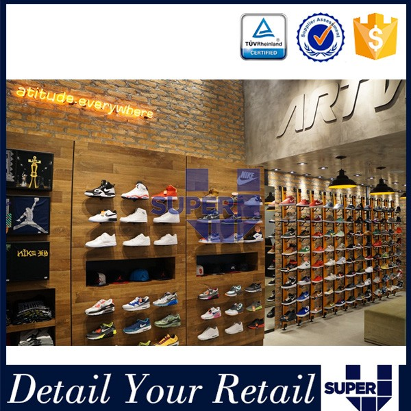 Point of sale sport shoes fittings mdf wooden shelves decoration high quality shoe display wall