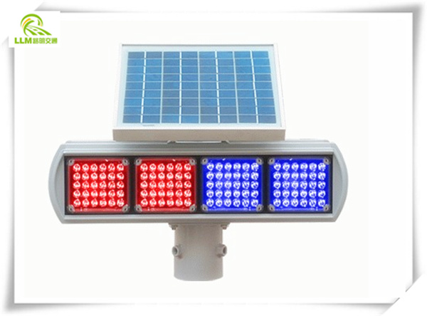 12V double-sides 4 groups solar LED strobe traffic warning light