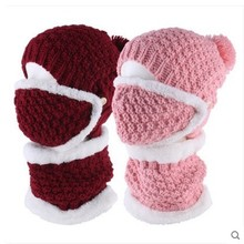 Solid color mask cap female knit autumn and winter thickening plus velvet warm earmuffs scarf cap