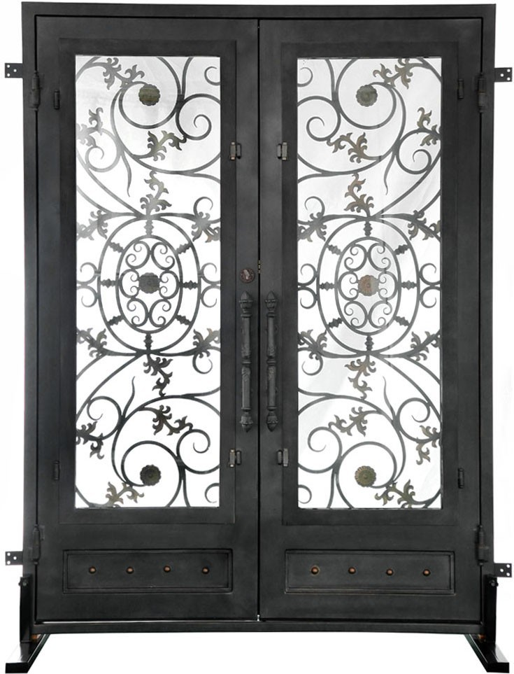 Elegant china suppliers cheap plain 2 leaf classical steel iron gate ...