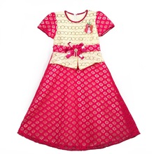 893 Rose red Yiwu Haolaiyuan 100% Polyester Wholesale Children's Wear African Lace dress with Peplum and Sequins