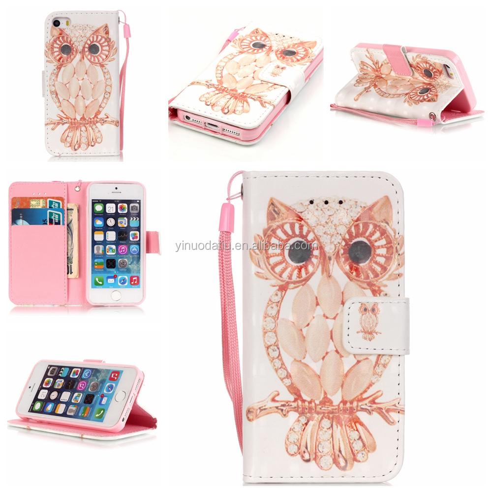 Hot sales 3d pu leather custom print cover for iphone 5s smart mobile cell phone