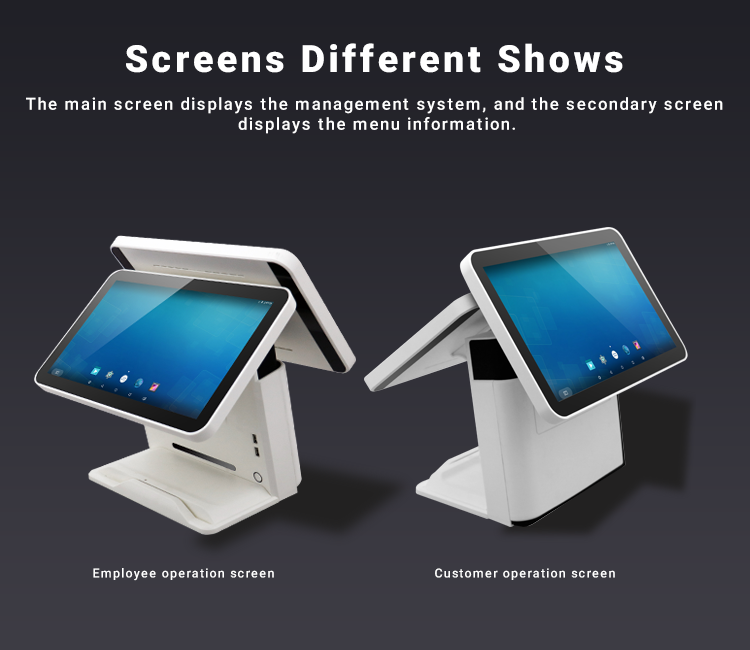 "Hot sell Dual 15.6"" capable touch screen Android 7.1  POS Systems"