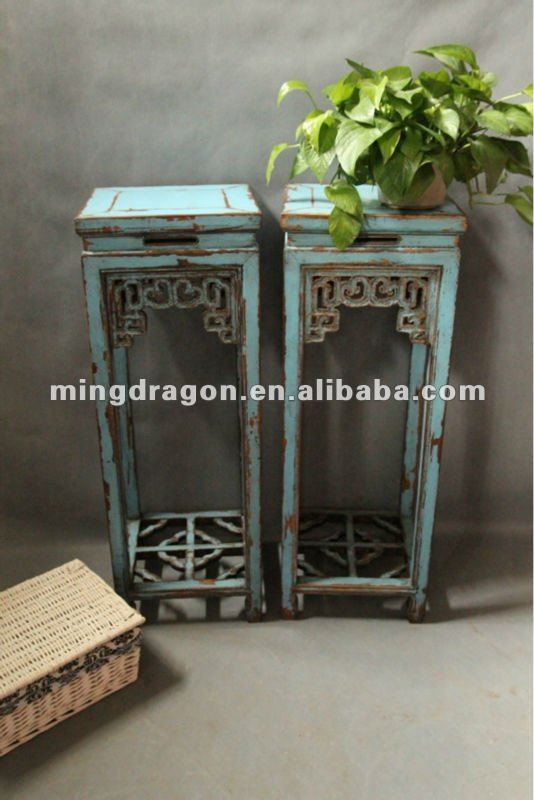 Chinese antique wooden blue Flower table