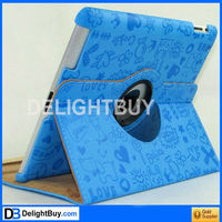360 degree rotating Smart Cover case with artificial leather for iPad 2/3 (BLUE)