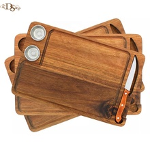 Set of 3 wood Steak Board Premium Acacia wood <strong>Plates</strong> for Serving