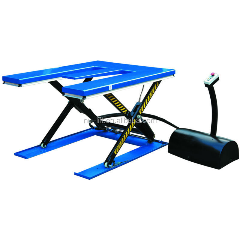'E' Shape Low Profile Electric Hydraulic Scissor Lift Table