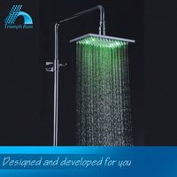 Top Grade Preferential Price Newest Mirror Polished 3-Color Temperature Sensor Square Led Shower Head