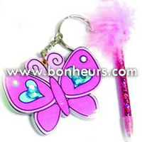 New Novelty Toy Design Butterfly Note Book With Pen Keychain