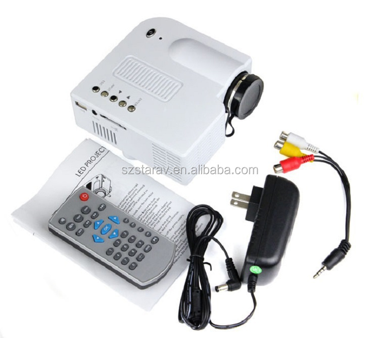 Mini projector uc28 tv projector small size with usb av sd for Small tv projector