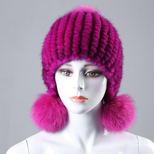 Real knitted mink fur hats for winter women fur cap with fox fur pom pom top