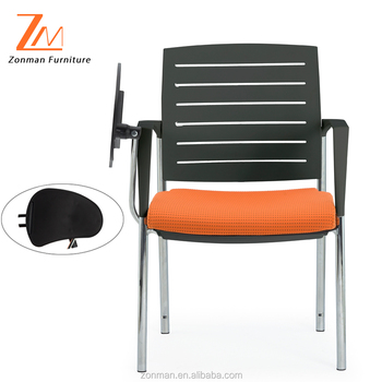 High Quality Durable Student Chair with Writing Pad, Four Legs Training Chair with Writing Table