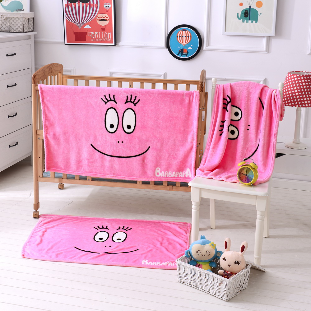 Japan market lovely emoji pattern printed flannel fleece baby blanket