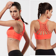 Woman's medium support wire free pad yoga sports bra nest back sports bra fitness workout underwear