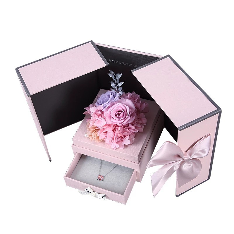 Flower Gift packaging Wedding valentine birthday Gift propose Christmas luxury Rose Preserved Fresh Flower Jewellery Gift <strong>Box</strong>