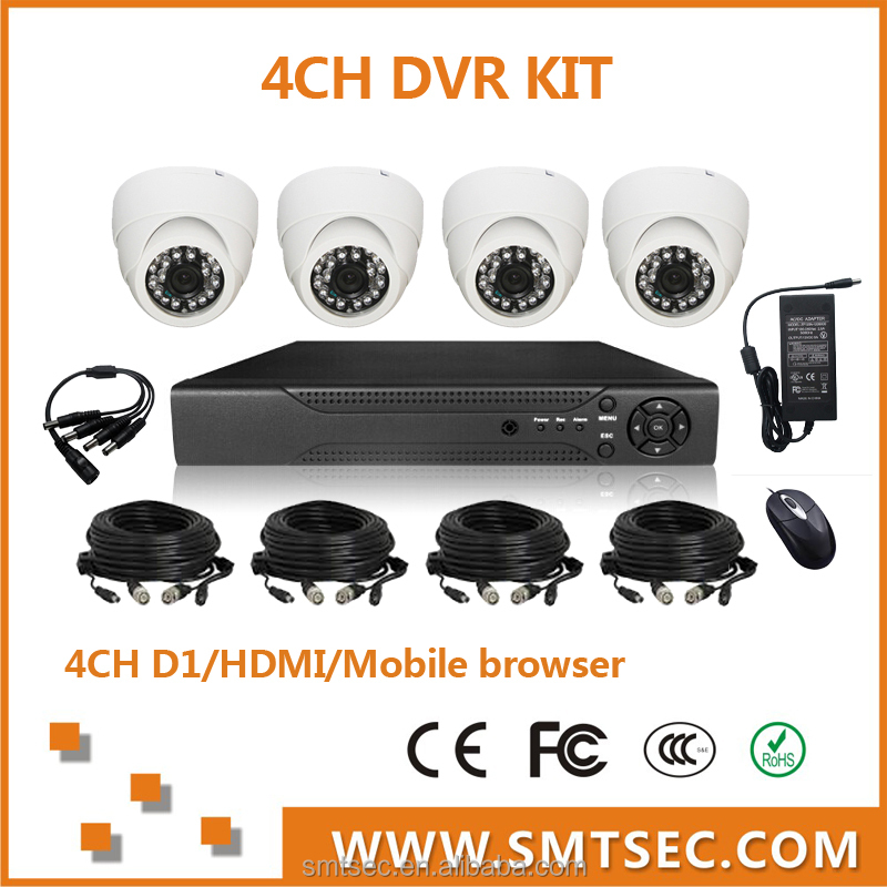 Cheap price SONY 700TVL h.264 4ch dvr combo cctv camera kit