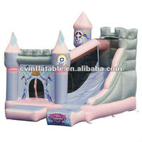 high quality commercial inflatable princess castle bounce house with slide combo
