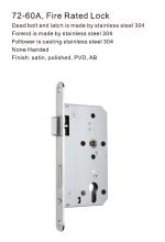 72-60A Fire Rated Lock European Profile Mortise Door Locks