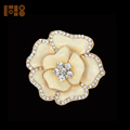 Gold Clear Rhinestone Flower Brooch Pins Accessries For Lady Women