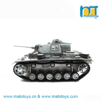 HOT!!! Mato 1:16 1/16 Full Complete Metal Panzer III Model Military Tank, Turret 360-degree Rotation, IR recoil airsoft