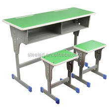 2018 new design metal frame wooden top and seat school student desk design