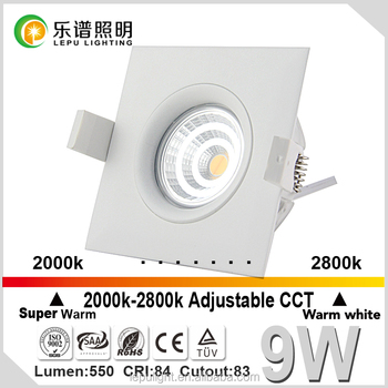 Anti-glare GYRO cob celling light 9w dim warm 2000k-3000k downlight IP44