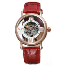 Genuine Leather Strap Cross Design See Through Automatic Mechanical Wrist Watch