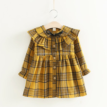 NS1932 Wholesale Korean Fashion Kids Printed Thick Dresses Winter Dress for Children
