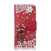 Wallet Flip Phone Case For iPhone 5/5S/SE With Card Holder PU Leather Glitter Bling Cover