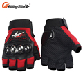 Best Value Racer Brand Grey Adventure Held Most Protective Open Half Finger Lined Motorcycle Gloves