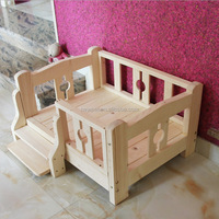 Top quality crazy selling solid wooden raised dog bed wooden dog house with rising floor