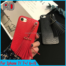 Crocodile case for iphone 7 leatherette Mobile phone crocodile case for iphone 7 plus with Tassels