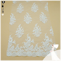 Delicate White Motif Floral Embroidery Lace Fabric for Wedding Dress/latest hand beaded patterns-DHBF544