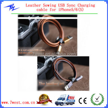 Leather Sewing Micro USB Data Charger Cable with Allumium Alloy for Android Mobilephones