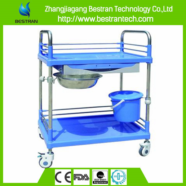 China BT-SPY005 Hospital medical steel plastic utility cart, surgical instrument trolley with basin manufacturer