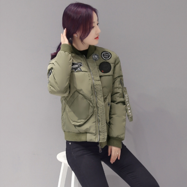 2016 Short ultralight army windproof MA1 nylon casual women winter down polyester jackets with hoop wholesale