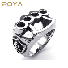 POYA Jewelry Skull Boxing Black Silver Glove Mens Stainless Steel Ring