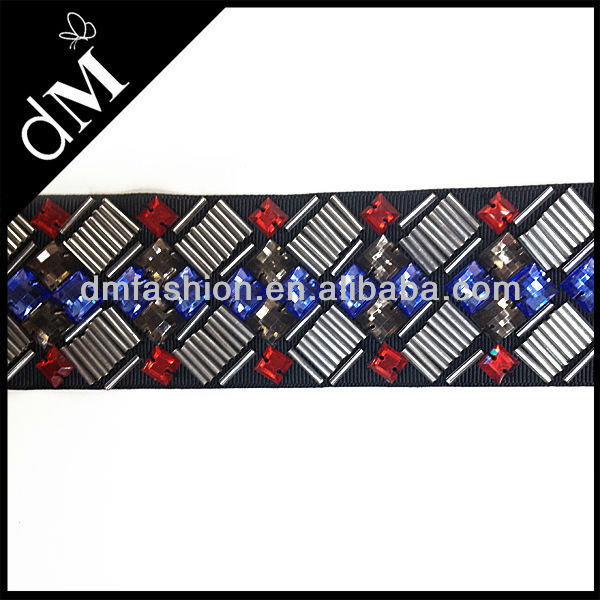 2014 wholesale beaded silver sequin trim with rhinestone for clothing STR0224