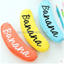 Osini profeesinal custom wholesale DIY banana shape pen bag canvas fabric banana zipper pencil case