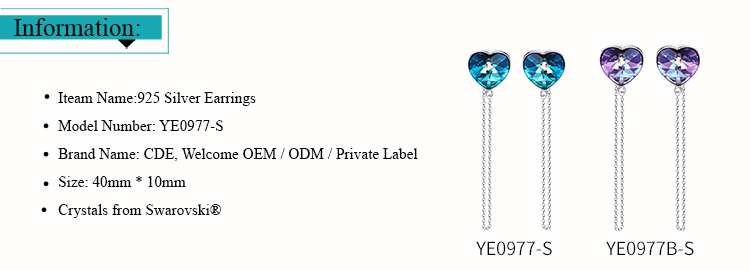 ODM OEM crystals from Swarovski jewelry manufacturer custom brand latest fashion long chain hanging earrings for girls