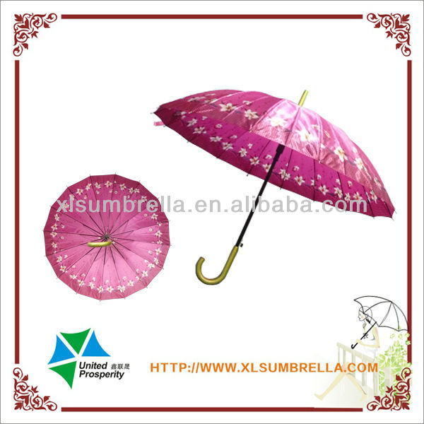 16ribs auto open satin fabric strong frame straight umbrella