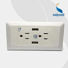 Saipwell PC High Quality CE Certificated Electronic Wall Socket with USB Factory Wall Outlet 2015 New USB Wall Sockets