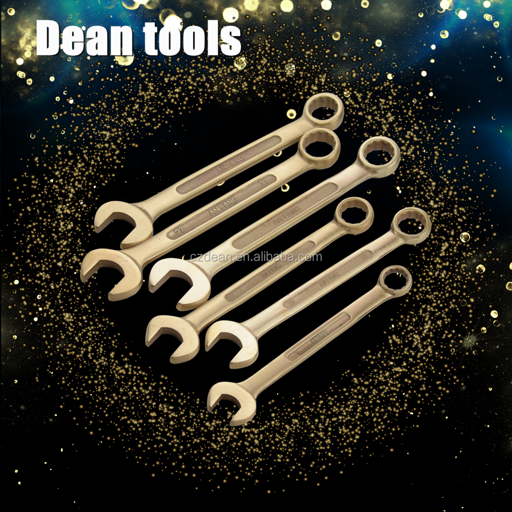 Ring end open spanner , Safety copper hand Tools,wrench Set 9pcs ,(8-27mm)