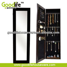 Wooden Jewelry Box Armoire Door Hanging Wall Mirror Cabinet Storage organizer